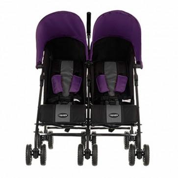 Obaby Apollo Twin Stroller - Black-Grey (Purple Hoods)
