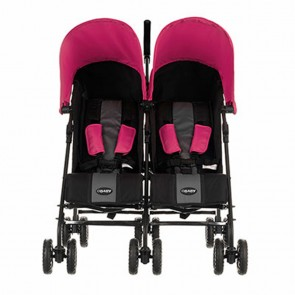 Obaby Apollo Twin Stroller - Black-Grey (Pink Hoods)