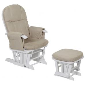Tutti Bambini GC35 Glider Chair - White With Cream Cushions