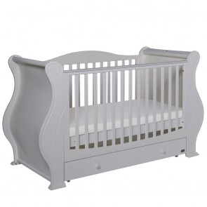 Tutti Bambini Louis 3 in 1 Deluxe Sleigh Cot Bed with Under Bed Drawer - White