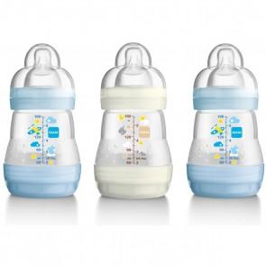 MAM Self Sterilising Anti Colic Bottles 160ml 3 Pack - Blue