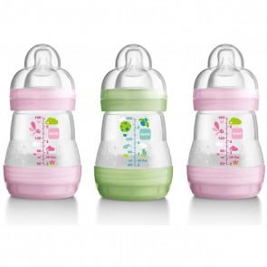 MAM Self Sterilising Anti Colic Bottles 160ml 3 Pack - Pink