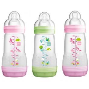 MAM Self Sterilising Anti-Colic Bottle 260ml 3 Pack - Pink