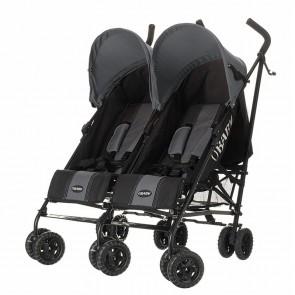 Obaby Apollo Twin Stroller - Black-Grey (Grey Hoods)