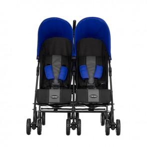 Obaby Apollo Twin Stroller - Black-Grey (Blue Hoods)