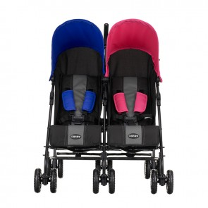 Obaby Apollo Twin Stroller - Black-Grey (Pink/Blue Hoods)