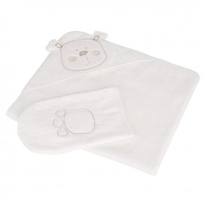 Obaby B Is For Bear Hooded Towel Sets - White