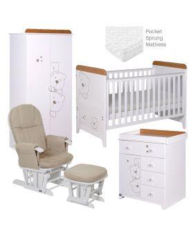 Tutti Bambini Bears 5 Piece Room Set - Beech/White