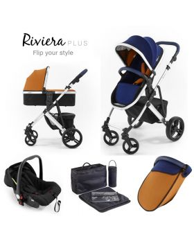 Tutti Bambini Riviera Plus 3 in 1 Silver Travel System - Midnight Blue / Tan