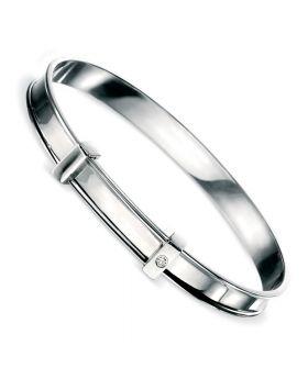 D for Diamond Christening Bangle