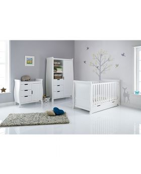 Obaby Stamford Classic Sleigh 3 Piece Room Set - White